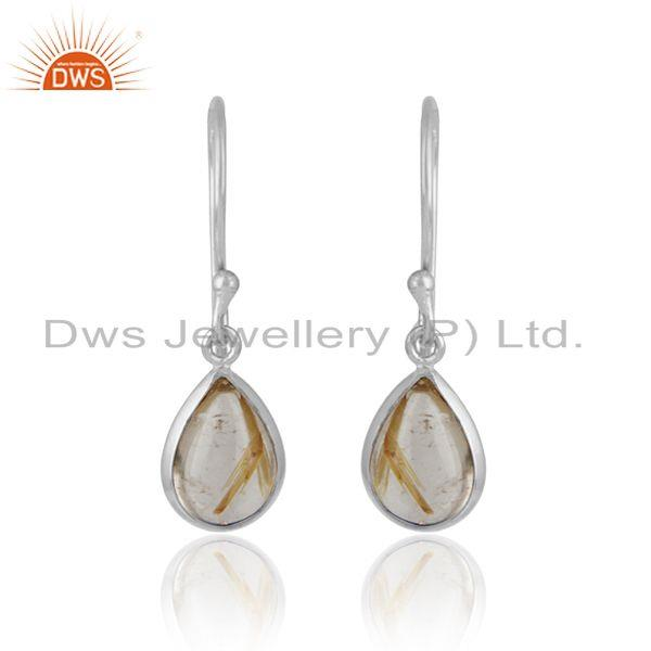 Handcrafted drop dangle in solid silver 925 with golden rutile