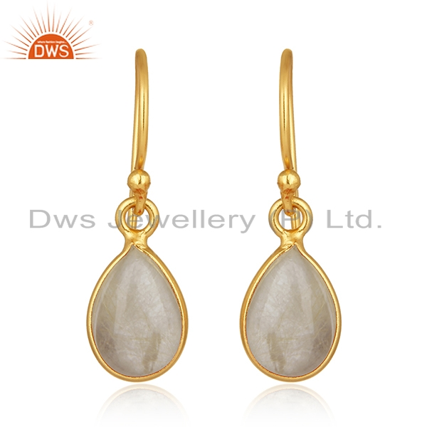 Golden Rutile Gemstone 925 Silver Gold Plated Drop Earrings Manufacturers