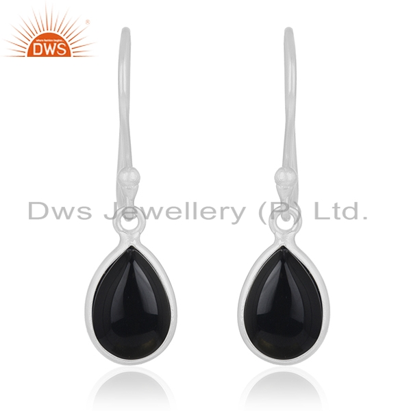 Genuine Black Onyx Gemstone 925 Sterling Fine Silver Drop Earring Manufacturer