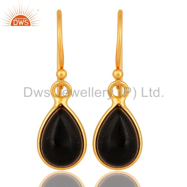 Genuine Black Onyx Gemstone Sterling Silver Drop Earrings - Gold Plated