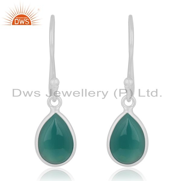 92.5 Sterling Fine Silver Green Onyx Gemstone Handmade Earring Wholesale Jewelry