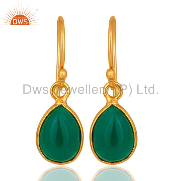 Natural Green Onyx Handmade 925 Sterling Silver Drop Earrings - Gold Plated