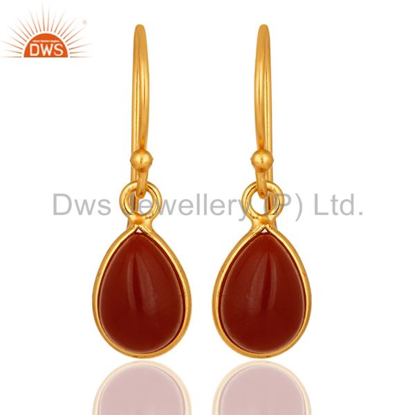 Natural Red Onyx Gemstone Drop Earrings In 18K Gold Over Sterling Silver