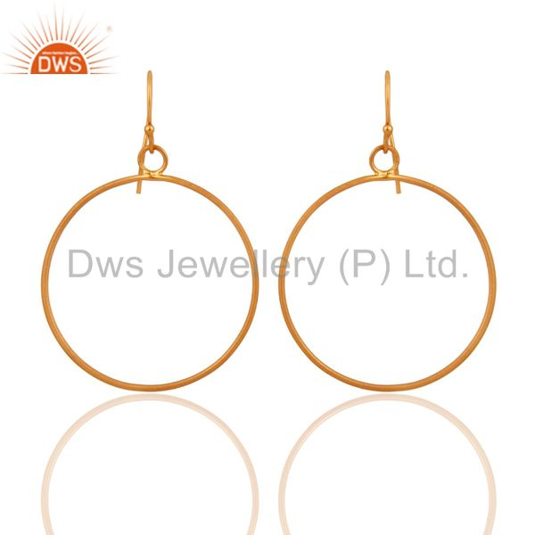24k Yellow Gold Plated Over 925 Sterling Silver Round Circle Hook Earrings