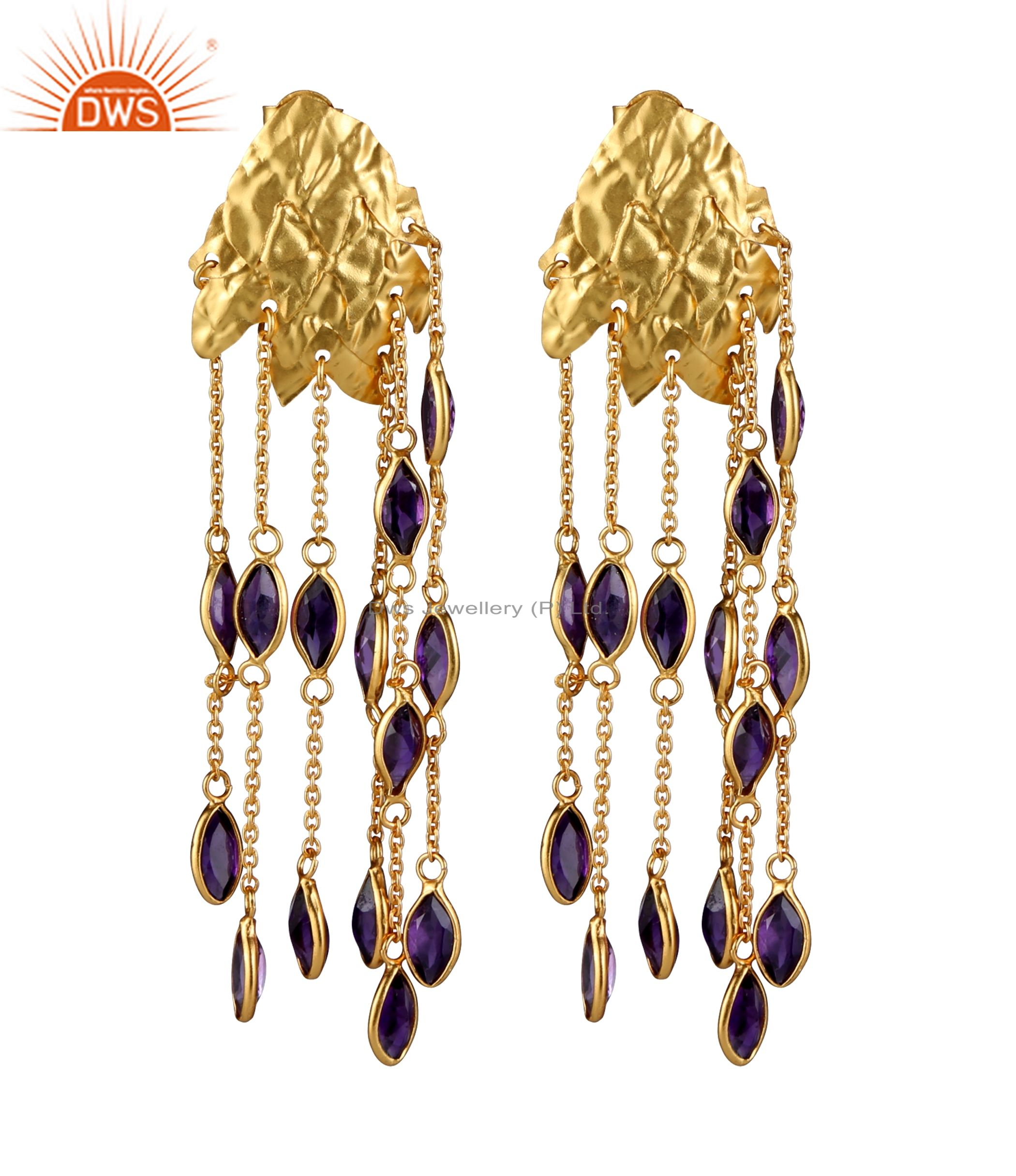 18K Yellow Gold Plated Sterling Silver Lapis Lazuli Chain Chandelier Earrings