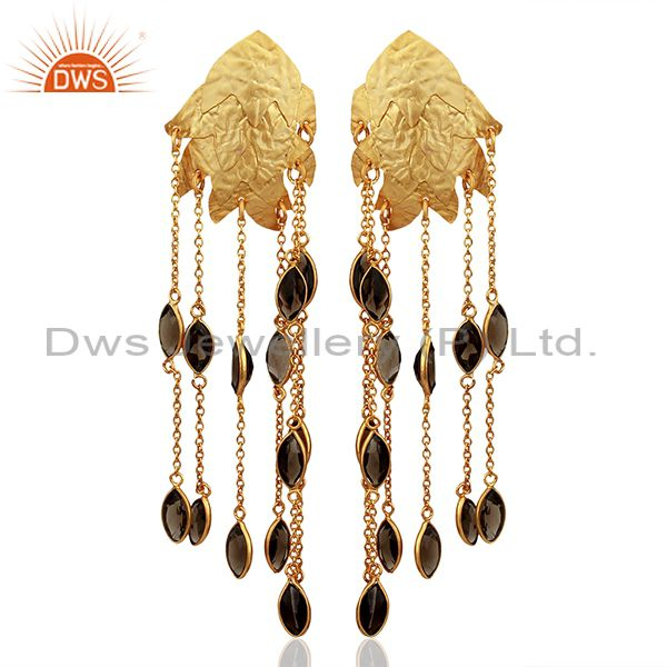 22K Yellow Gold Plated Sterling Silver Smoky Quartz Chain Chandelier Earrings