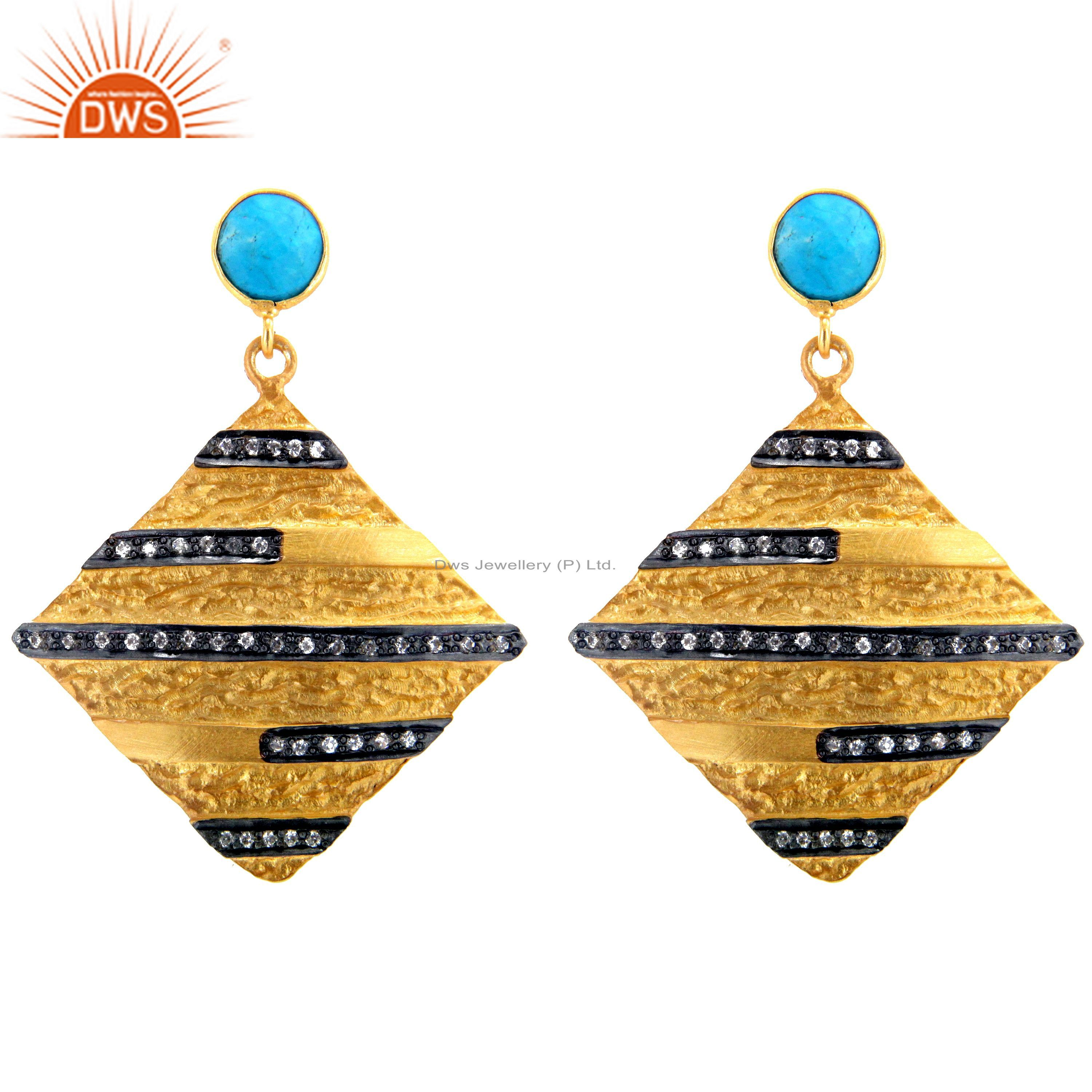 18K Yellow Gold Plated Sterling Silver Turquoise And CZ Designer Dangle Earrings