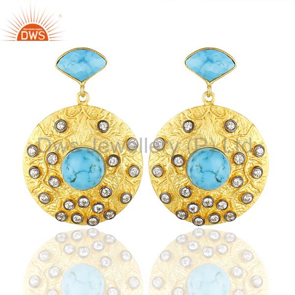 18K Yellow Gold Plated Brass Turquoise & Cubic Zirconia Disc Fashion Earrings