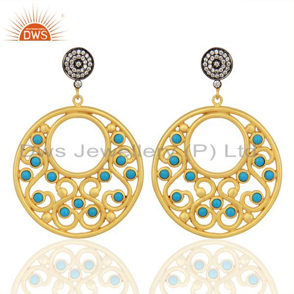 18K Yellow Gold Plated Brass Turquoise & Cubic Zirconia Fashion Earrings