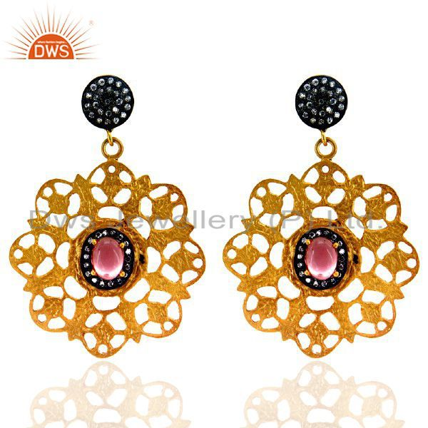 18K Gold Plated Brass Pink Glass And CZ Hammered Fashion Designer Earrings