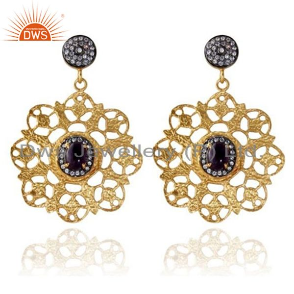 22K Gold Plated Brass Black Onyx And CZ Hammered Designer Dangle Earrings
