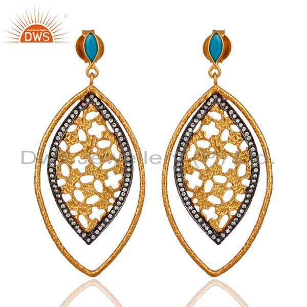 18K Yellow Gold Plated Turquoise And Cubic Zirconia Designer Dangle Earrings
