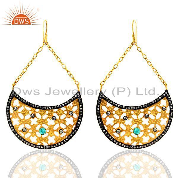 18K Yellow Gold Plated Brass Turquoise And Cubic Zirconia Designer Earrings