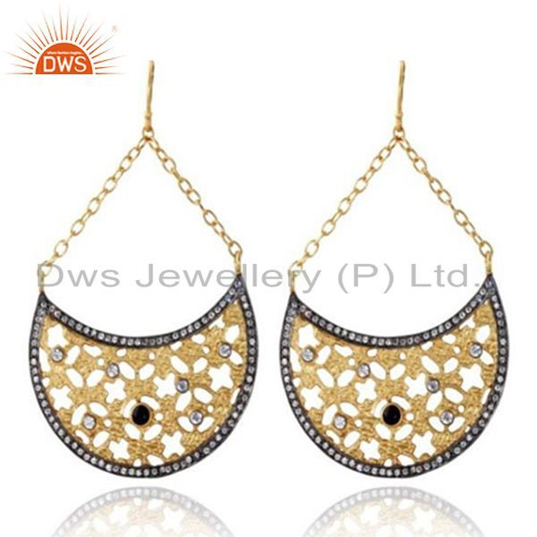 24K Yellow Gold Plated Brass Black Onyx And CZ Filigree Half Moon Drop Earrings