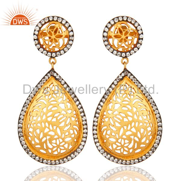 White Cubic Zirconia Unique Filigree Design Fashion Earrings - Gold Plated