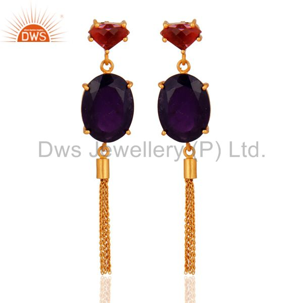 Hydro Amethyst And Pink Chalcedony 18K Yellow Gold Plated Brass Chain Earrings