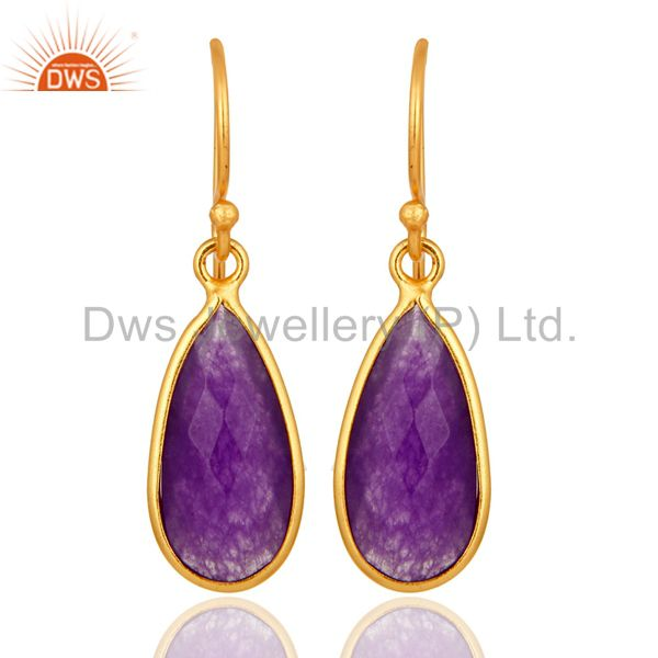 925 Sterling Silver Faceted Purple Chalcedony Bezel-Set Gold Plated Earrings