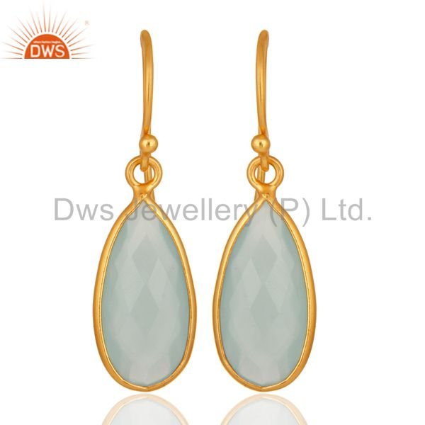 Lab-Created Blue Chalcedony Bezel Setting Gold Plated Sterling Silver Earrings