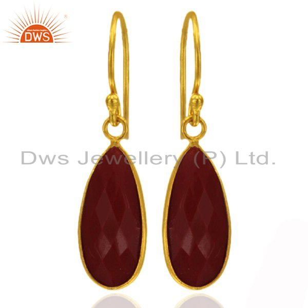 18K Yellow Gold Plated Sterling Silver Red Coral Bezel Setting Drop Earrings