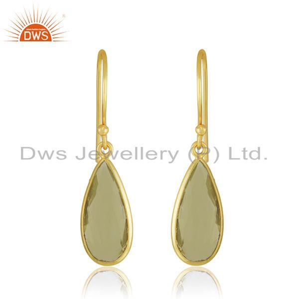Lemon Topaz Gemstone 925 Silver Yellow Gold Plated Drop Earrings Manufacturer