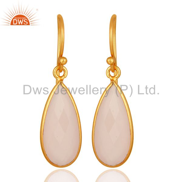 Faceted Rose Chalcedony Gemstone Sterling Silver Earrings With Gold Plated