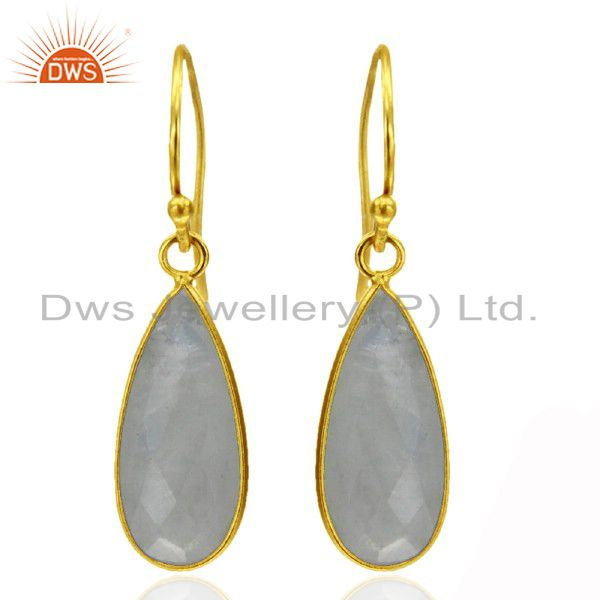 18K Yellow Gold Plated Sterling Silver Rainbow Moonstone Bezel Set Drop Earrings