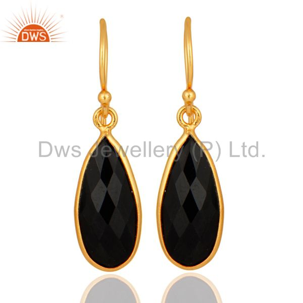 925 Sterling Silver Natural Black Onyx Gold Plated Bezel-Set Drop Earrings