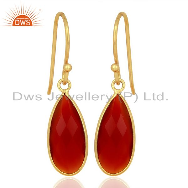 Red Onyx Drop Bezel Set Gold Plated 92.5 Sterling Silver Earring