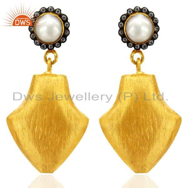 22K Yellow Gold Plated Stain Finish Pearl And CZ Drop Brass Earrings