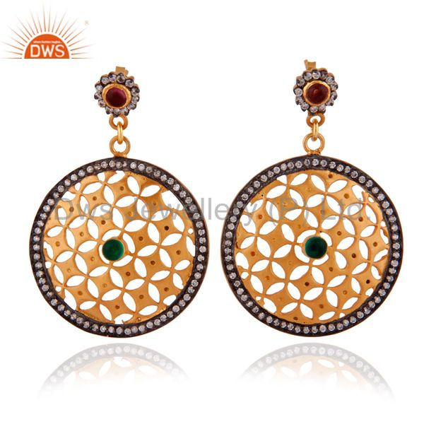 Handcrafted 14k Yellow Gold Plated Cubic Zirconia Round Drop / Dangle Earrings