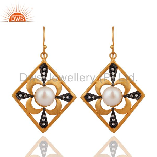 Handmade Natural Pearl Desinger Bridal Fashion Dangle Earrings With Gold Plated