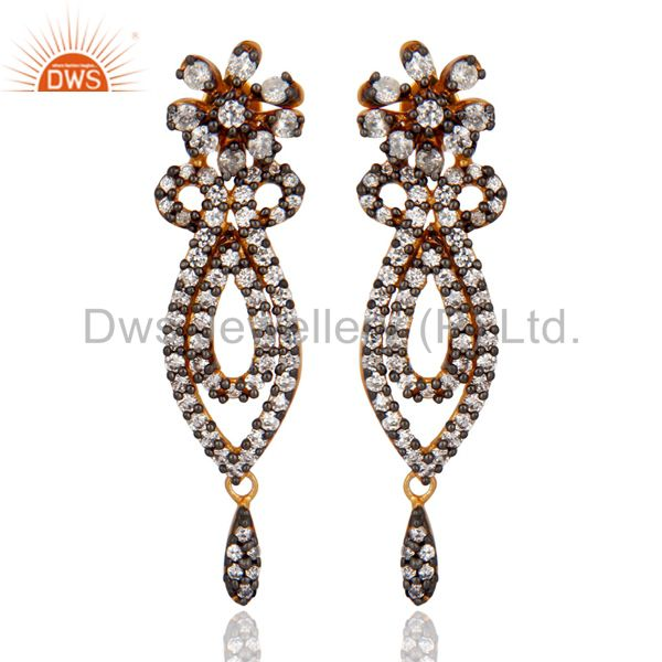 18K Yellow Gold Plated White Cubic Zircon Fashion Wedding Drop Post Stud Earring