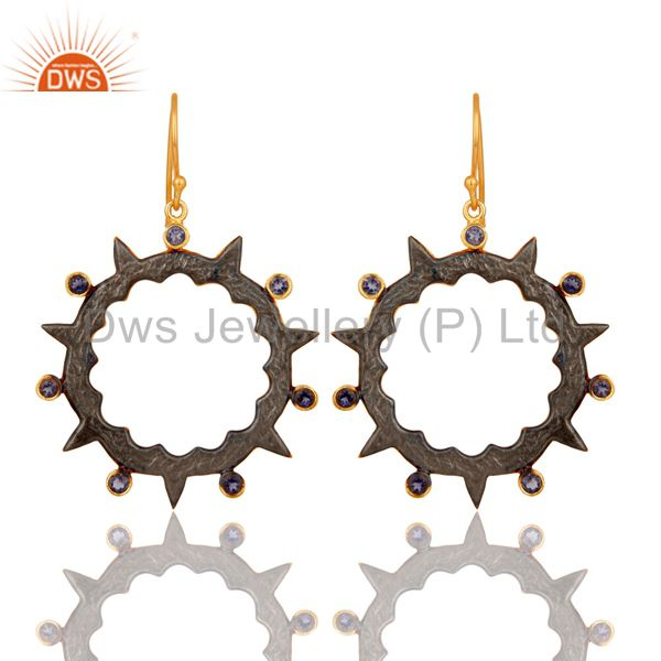 18k Gold Plated Round Design Brass Earrings with Iolite