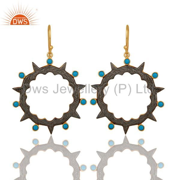 18k Gold Plated Round Design Brass Earrings with Turquoise