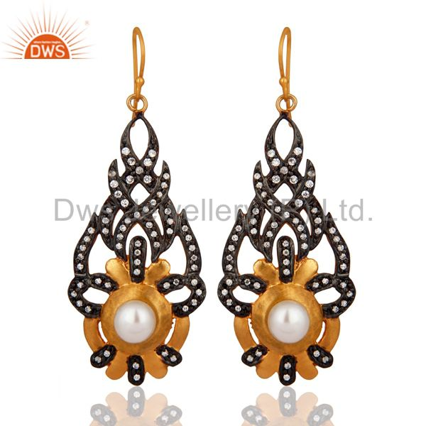 Cubic Zirconia And Natural Pearl 18K Yellow Gold Plated Fashion Designer Earring