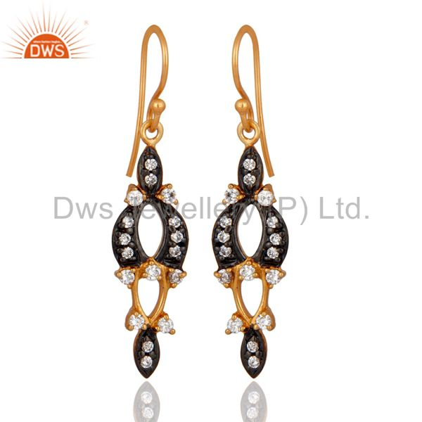 18K White Gold Plated Clear Cubic Zirconia Womens Hook Fashion Earrings Jewelry