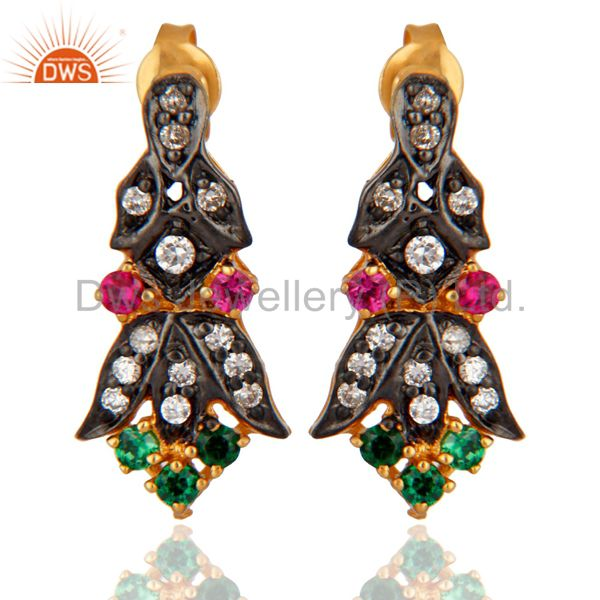 Multi Color Cubic Zirconia New Designer Bridal Fashion Stud Earrings