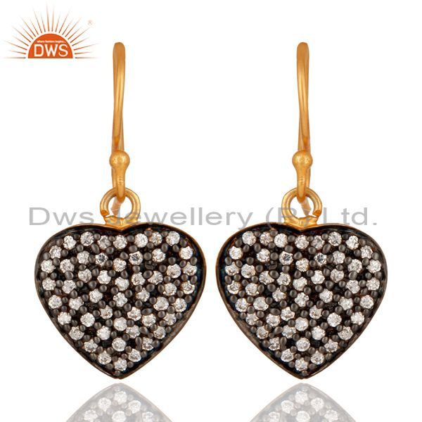 Handmade 18K Yellow Gold Plated Cubic Zirconia Heart Design Dangle Earrings