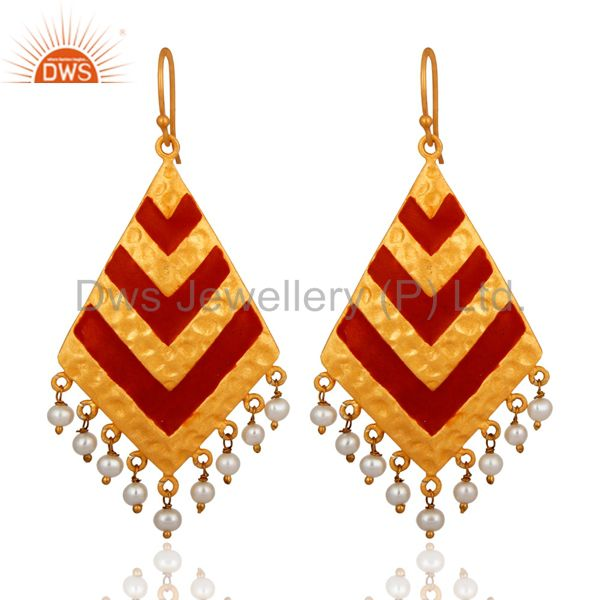 18K Yellow Gold Plated Pearl And Red Enamel Handmade Designer Earrings
