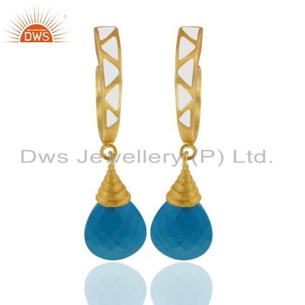 18K Yellow Gold Plated Brass Turquoise Drop Earrings With White Enamel