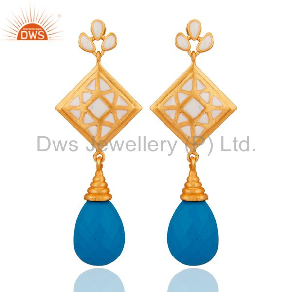 18K Yellow Gold Plated Turquoise And White Enamel Dangle Earrings
