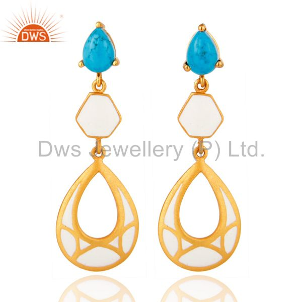 Handmade 18K Gold Plated Turquoise Gemstone Dangle Earrings With White Enamel