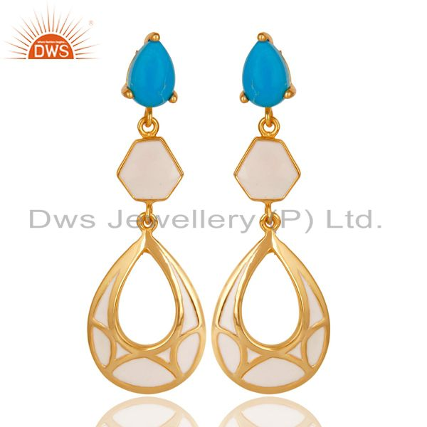 14K Yellow Gold Plated 925 Sterling Silver Handmade Turquoise Dangle Earrings