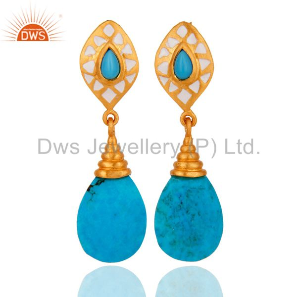 18K Yellow Gold Plated Turquoise Gemstone Drop Earrings With White Enamel
