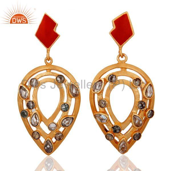 18K Yellow Gold Plated Brass Crystal Quartz Designer Earrings With Red Enamel