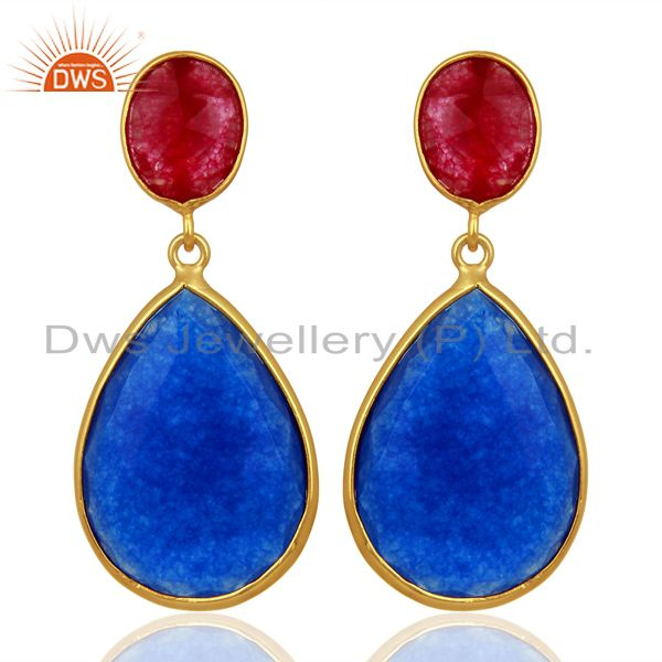 Multi Color Aventurine Dangle 18K Gold Plated Sterling Silver Earrings Jewelry