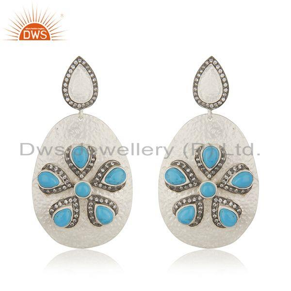 Fine Silver Plated Brass Fashion Turquoise Gemstone Earrings Wholesale Jaipur