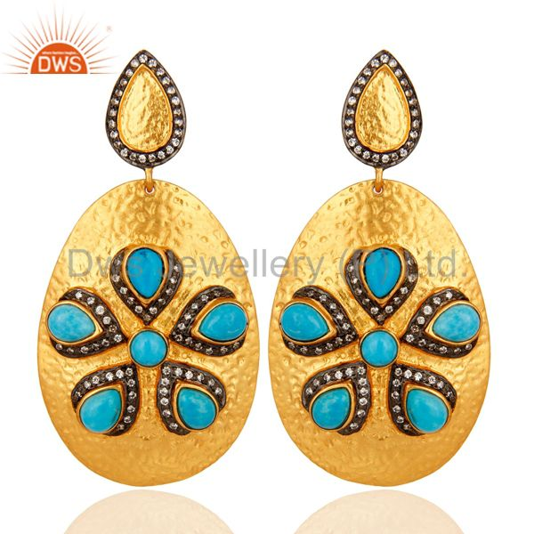 18k Yellow Gold Over Brass Textured Design Earrings With Turquoise And CZ