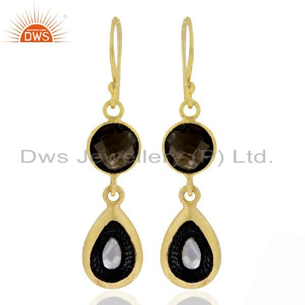 18K Gold Plated Sterling Silver Smoky Quartz And Crystal Quartz Drop Earrings