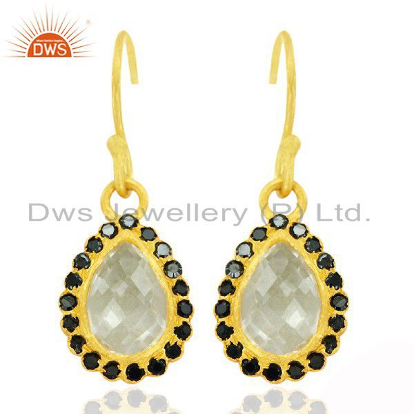 18K Yellow Gold Plated Sterling Silver Crystal Quartz And Black CZ Drop Earrings